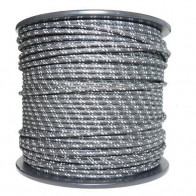 1M Cotton Braided Automotive Electrical Wire Cable 18 Gauge Black & White Fleck