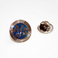 GS42010 - PIN BADGE - A.J.S Aprox 2cm diameter Colours may vary .
