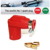 1x NGK None Resistor Spark Plug Cap LBER-R Red 14mm Nut Terminal 8307