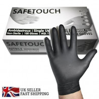 Black Disposable 100 Pack Non Sterile Nitrile Powder Free Gloves AQL 1.5